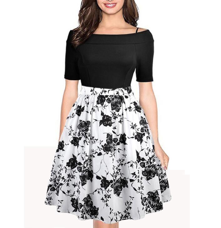 f9dc0ab065d Fashion Printing Slash Neck Summer Dress 2018 Women Elegant Knee-Length A-Line  Bohemian Dress Casual Floral Print Party Dresses Women Dresses Bohemian  Dress ...
