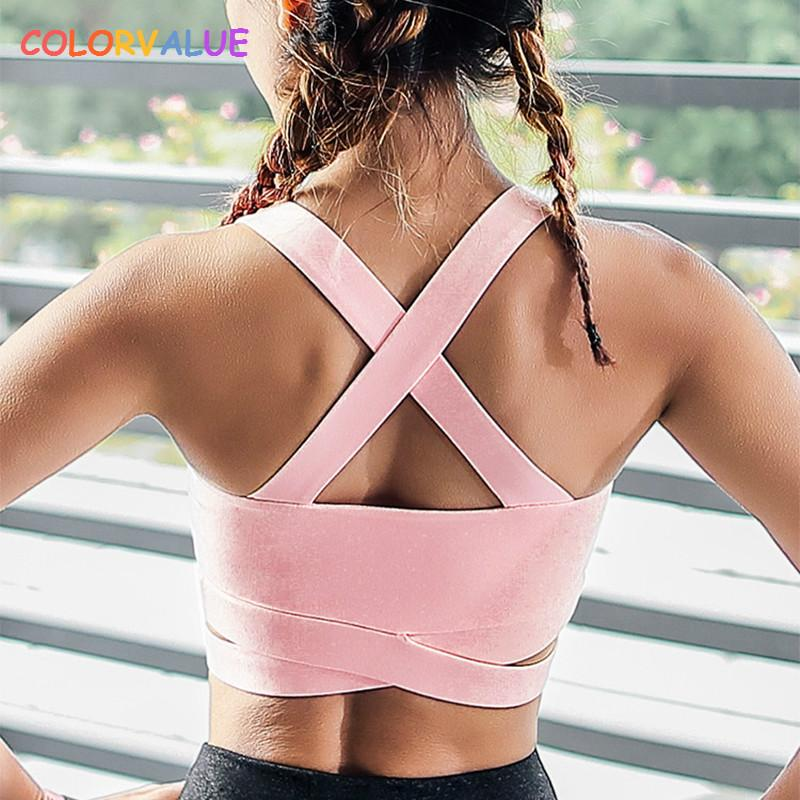value High Support Sports Bra Women Push Up Running Bra Cross Bandage Padded  Fitness Tank Tops Shakeproof Wireless Yoga From Lianqiao f3a42c05e28