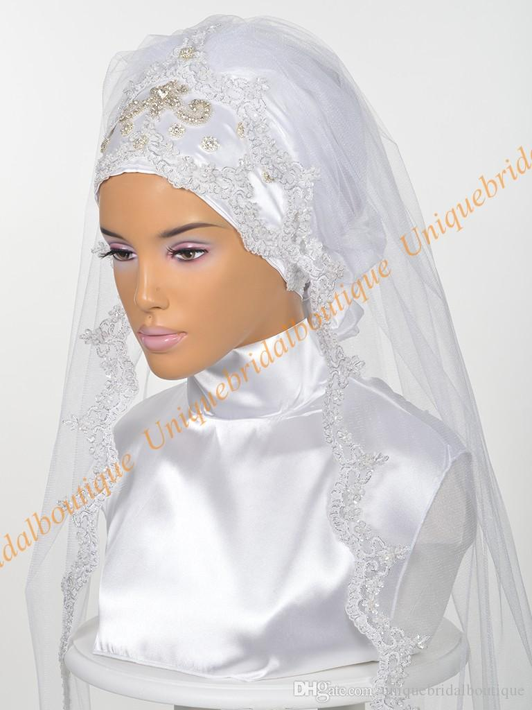 Muslim Wedding Bridal Hijab 2019 with Rhinestones & Lace Appliques Real Pictures Elbow Length Islamic Wedding Veils Custom Made