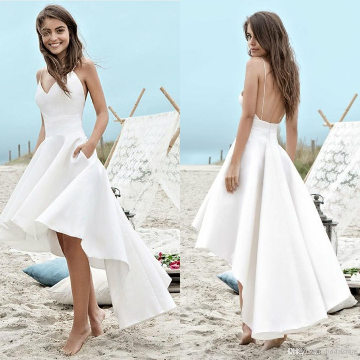 Cheap White Beach Wedding Dresses Aline Front Short Long Back Ankle Length Satin Vintage Boho Wedding Gowns Sexy Spaghetti Backless For Girl