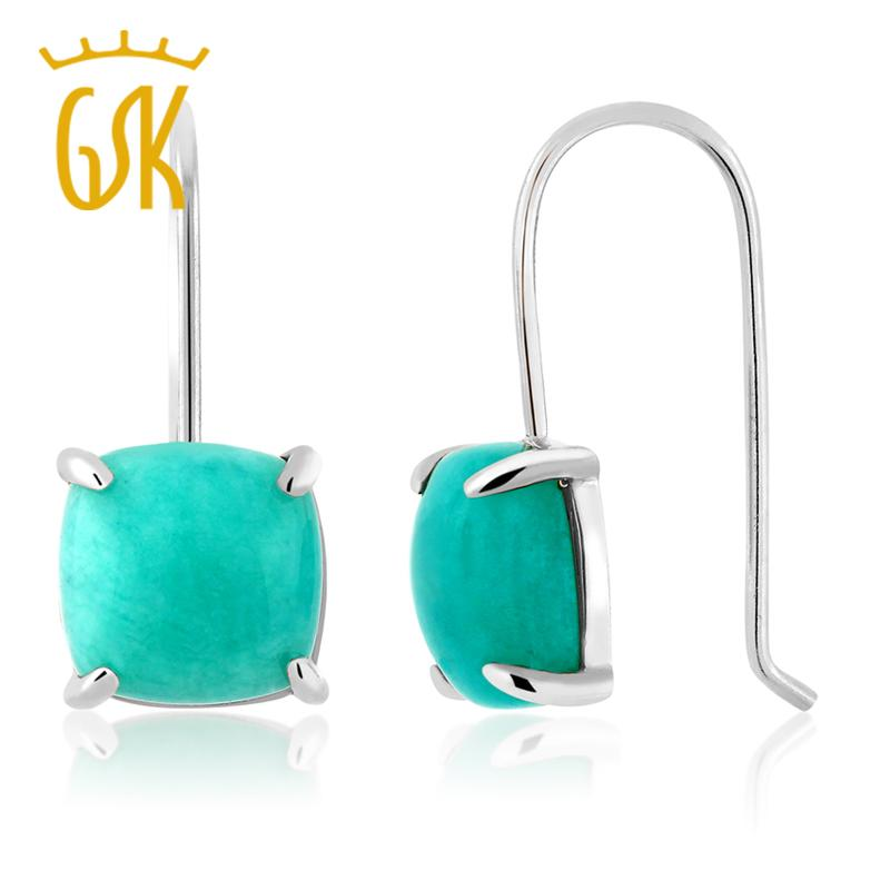 GemStonekIng 8,75 Ct Cabochon Square Amazonite Gemstone Earrings Pure 925 Sterling Silver Fine Jewelry per le donne