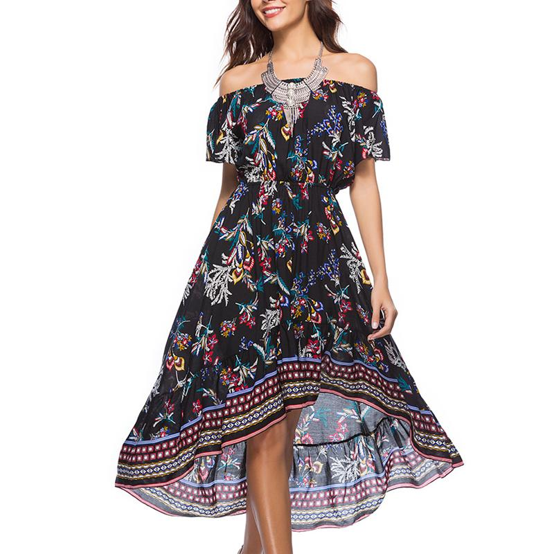 New Design Summer Dresses For Women Print Style Off Shoulder 2018 High Quality Plus Size Printed Midi Dress Sexy Backless