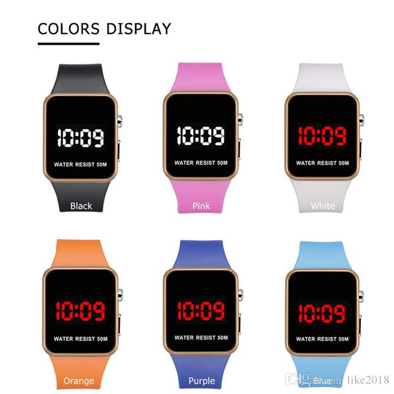 Fashion LED Watches Men Women Sports Digital wristwatches Calendar Date Silicone waterproof watch Mirror Alarm Clock Wrist Watch