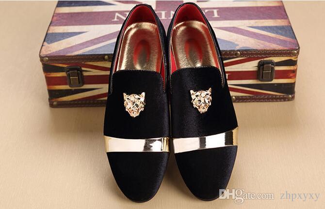 New Fashion Gold Top und Metal Toe Herren Samt Kleid Schuhe italienische Herren Kleid Schuhe handgemachte Loafers plus Größe 37 ~ 47