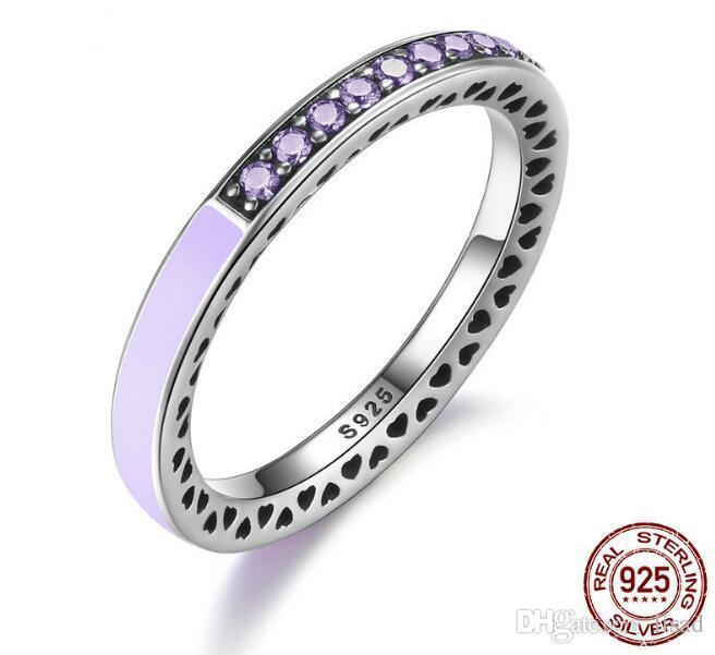 Hotsale Europe 925 Silber Shinning Heart Diamond Einstellung Ringe in 7 verschiedenen Farben zu jedem Dressing Style, Romantik Ring für Paare