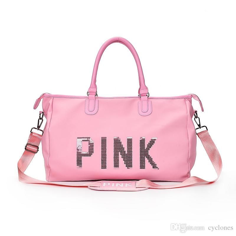 2019 Pink Letter Sequins Duffle Bag Large Capacity Girls Glitter Duffels Pink  Outdoor Travel Sports Beach Shopping Totes Fashion Gym Bags Ins From  Cyclones, ... 66c12739eb
