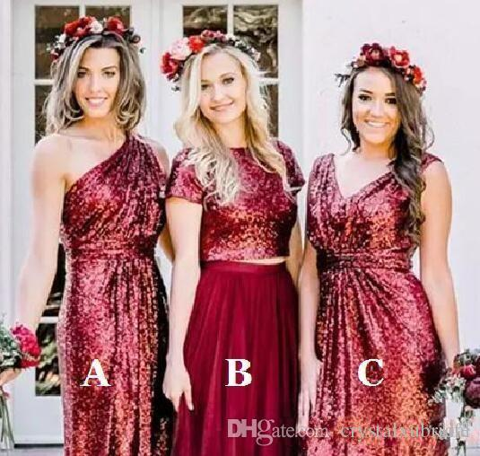 39fb0791ff7 2018 New Cheap Burgundy Sequin A Line Bridesmaid Dresses Jewel One Shoulder  Floor Length Bridesmaid Dress Wedding Party Dresses Custom Made Polka Dot  ...