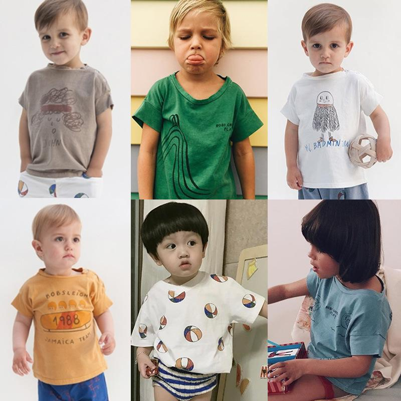 Boys Summer Cotton T Shirt Kids Brand Design Cartoon T-shirts Brother Baby Boy Clothes Short Sleeve O-neck Top Girls Clothing