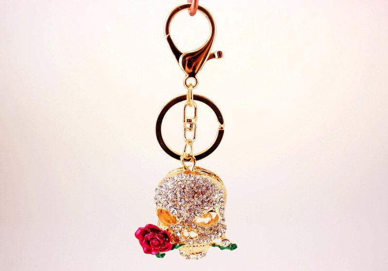 Crâne Rose Fleur Porte-clés Porte-clés - Strass En Métal Bling Bling Porte-clés De Voiture Porte-clés Pour Femmes Sac À Main Sac Charme Ornement