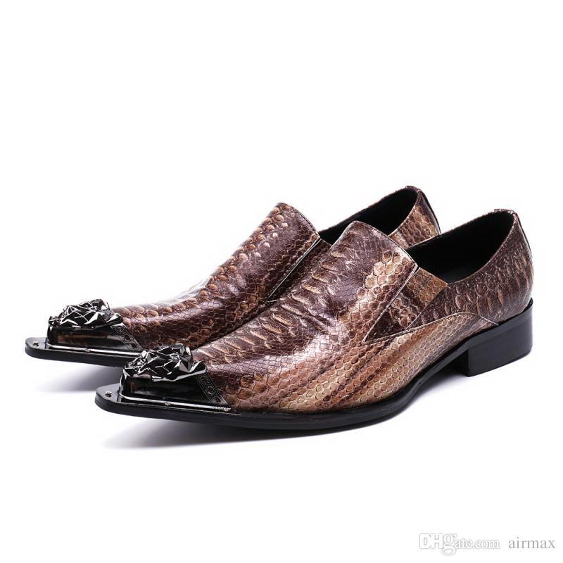 Персонализированные Мужчины Досуг Кожаная Обувь Мода Металл Toe Шарм Скольжения На Мужчин Python Змея Шаблон Партии Обуви Человек Коричневый 38-46