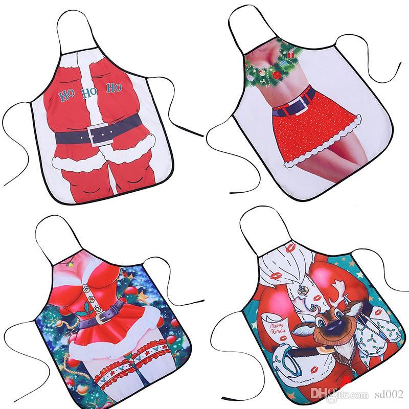 Originality 3D Santa Apron Soft Water Proof Cloth Kitchen Accessories Fun Girl Aprons Bright In Color Hot Sale 8yq WW