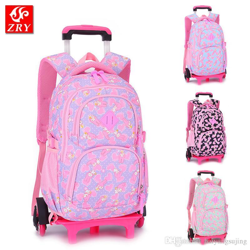 63f6cb512a Detachable Girls Nylon School Bags Kids Backpack With Guide Wheel Children  Mochila Infantil Escolar Trolley Satchel Bag Teenager Luggage Canada 2019  From ...