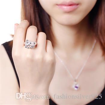 Venta al por mayor - - Al por menor precio menor regalo de Navidad 925 anillos de plata Anillo de uva Europa y América joyería de plata anillo de bola R016
