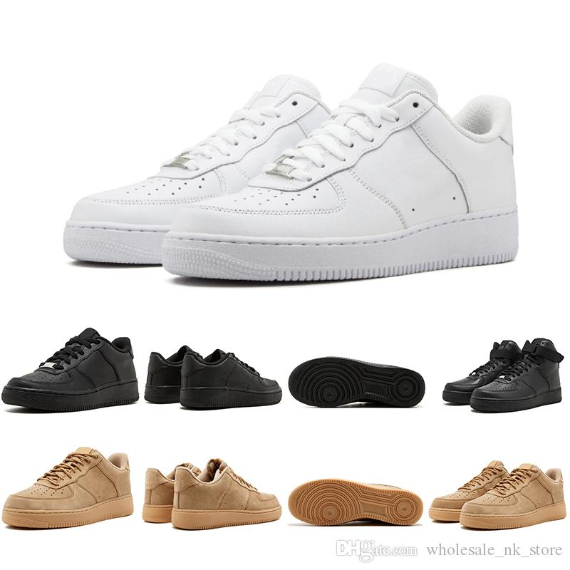 huge selection of 886b2 e1701 Compre Nike Air Force One Designer One 1 Dunk Hombres Mujeres Flyline  Zapatillas De Running Deportes Skateboarding Unos Zapatos De Corte Bajo  Negro Blanco ...