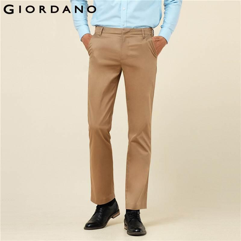 5e8e07ad931 2019 Wholesale Giordano Men Brand Khaki Pants Slim Fit Quality Trousers  Cotton Business Casual Modern Non Iron Flat Front Suit Pant From Ario