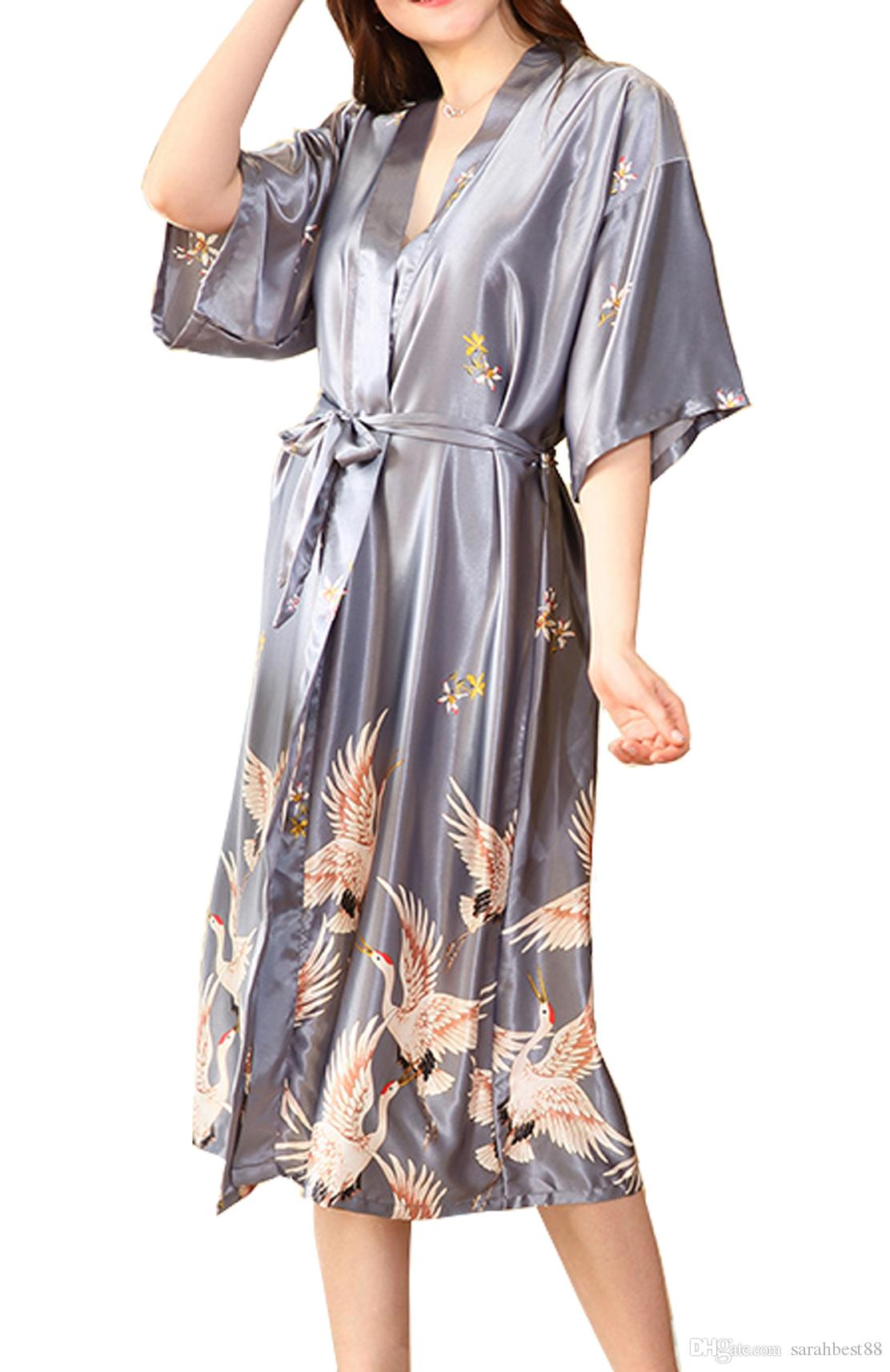 2019 Women Elegant Long Kimono Robe Satin Nightwear Wedding Bridesmaids  Dressing Gown Loungewear Ladies V Neck Half Sleeve Nightdress With Belt  From ... 33f004e56