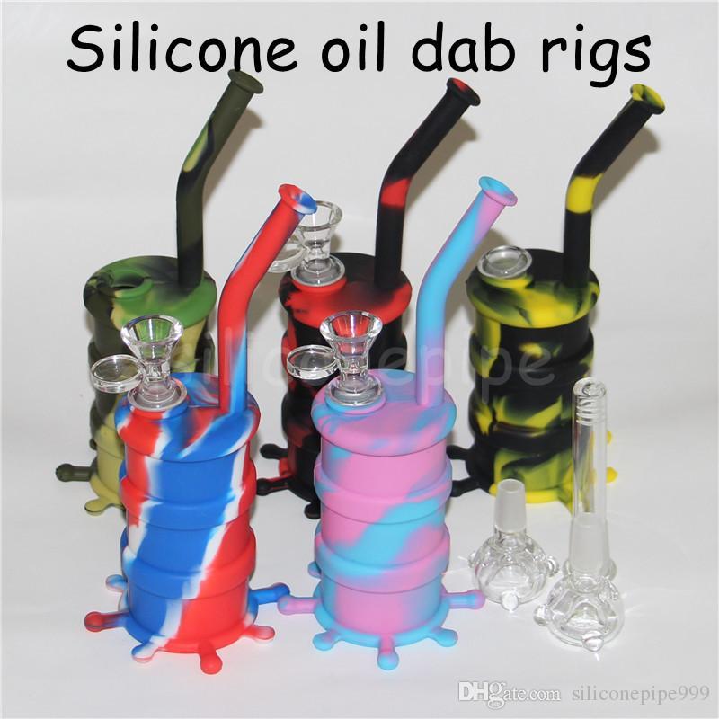 Arrivel цвет кремния водопровод силиконовые dab Рог съемный Силиконовый Бонг длинные трубы стеклянные бонги Высота 8,26
