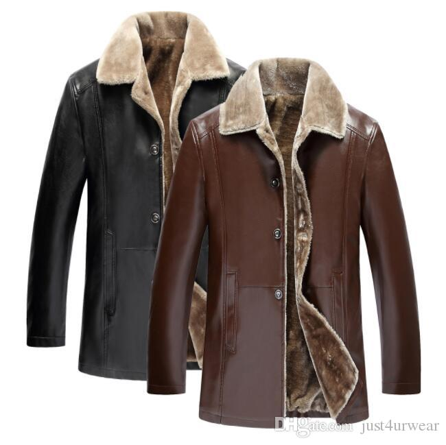 2006a1761eca PU Leather Mens Jackets Coats Thicken Outerwear PU Coats Hommes Clothing  Tops Medium Long Coats Winter Biker Jackets Jean Jacket Cbj From  Just4urwear