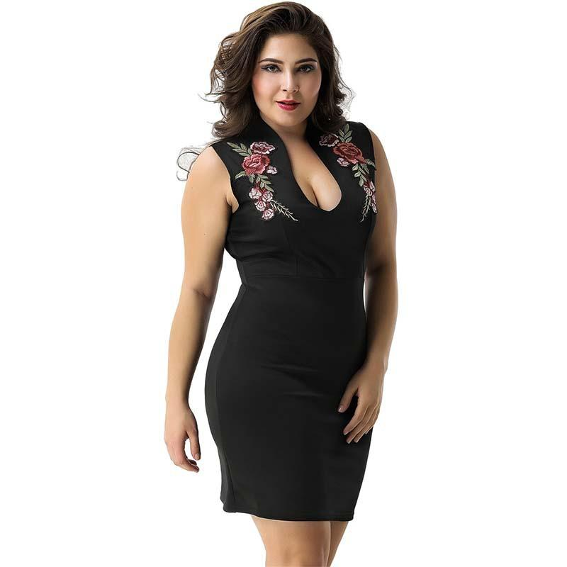 Hot Sale Sheath Embroidery Flowers Dresses Plus Size Dress Solid