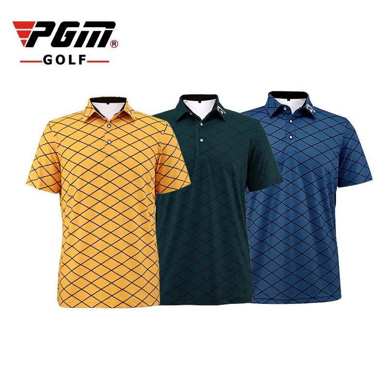 PGM Men Golf Polo T-shirt Summer Short sleeves Breathable Quick Dry Plaid Golf Shirts Anti Sweat Man's Sport T-shirt