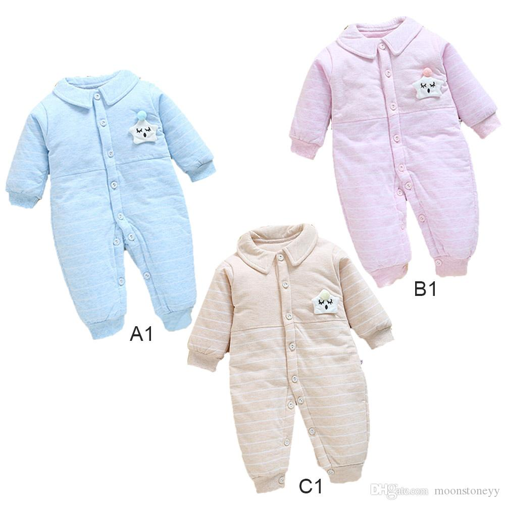 a2c3a7cc8 Thickened Star Lapel Children Winter Jumpsuit Newborn Baby Snowsuit ...