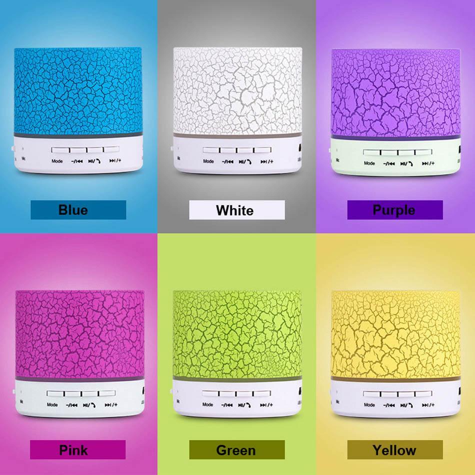 Altoparlante wireless Mini altoparlanti Bluetooth A9 Altoparlante flash colorato Radio FM Scheda TF TF USB iPhone X cellulare S8