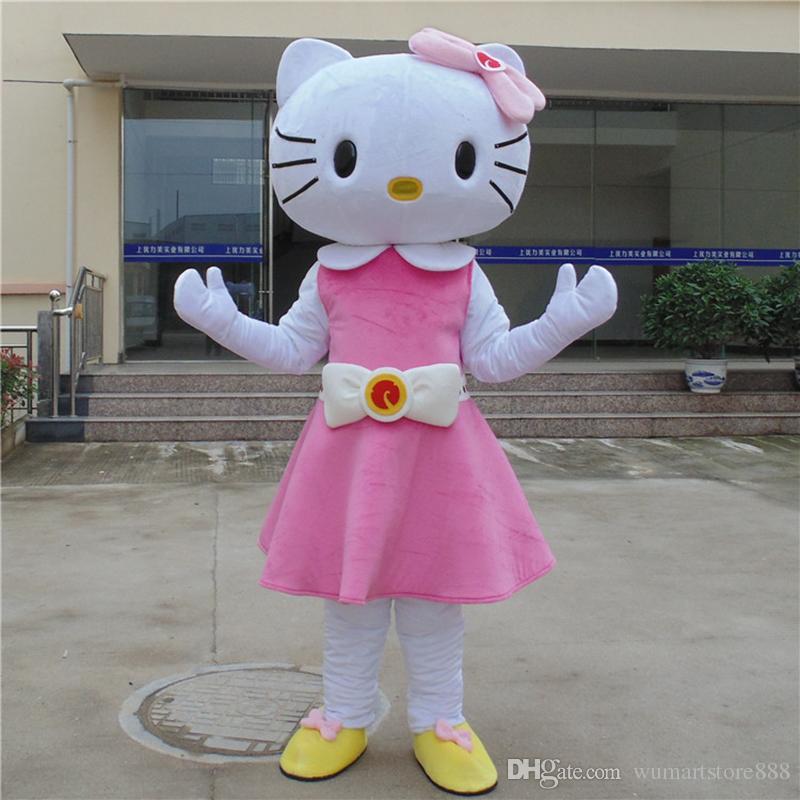 Acquista hello kitty mascot costume pink cat cospaly personaggio dei