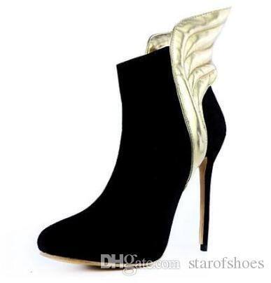2018 donne stivali gladiatore inverno stivaletti caviglia donne punta a punta in pelle scamosciata bota tacco sottile ali d'oro stivali donne