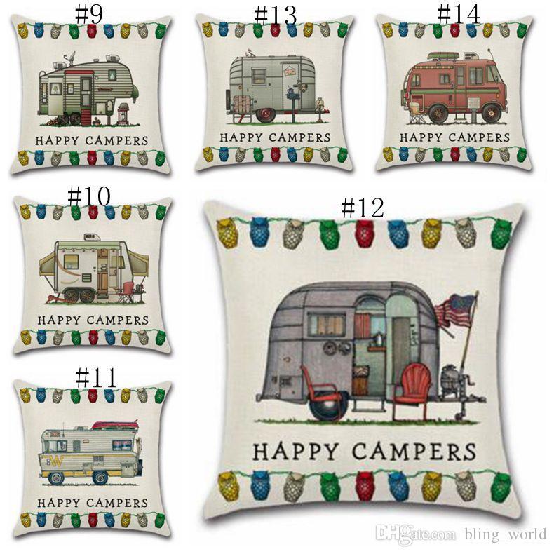 Happy Campers Funda de almohada de lino Throw Cojines Fundas de cojines del sofá con cierre de cremallera Decoración del hogar 20 diseños YW897