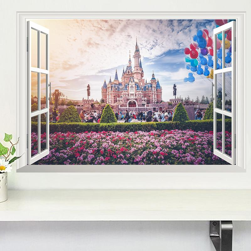 3d vivid princess castle flower window wall stickers for kids rooms