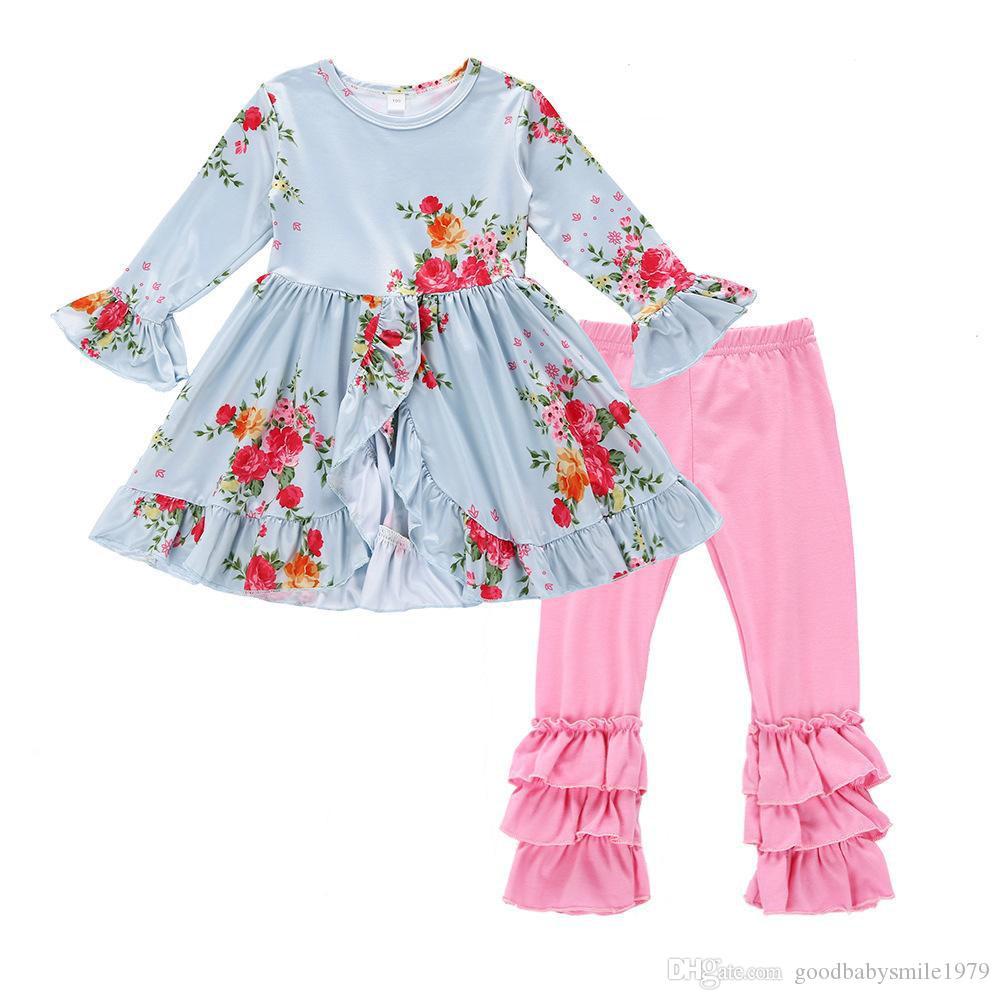 af5ea9018 Cute Baby Kids Girls Clothes Flower Floral T-shirt Dovetail Dress + Pants  Tights 2pcs Outfit Sets 2018 Children Girls Clothing Set