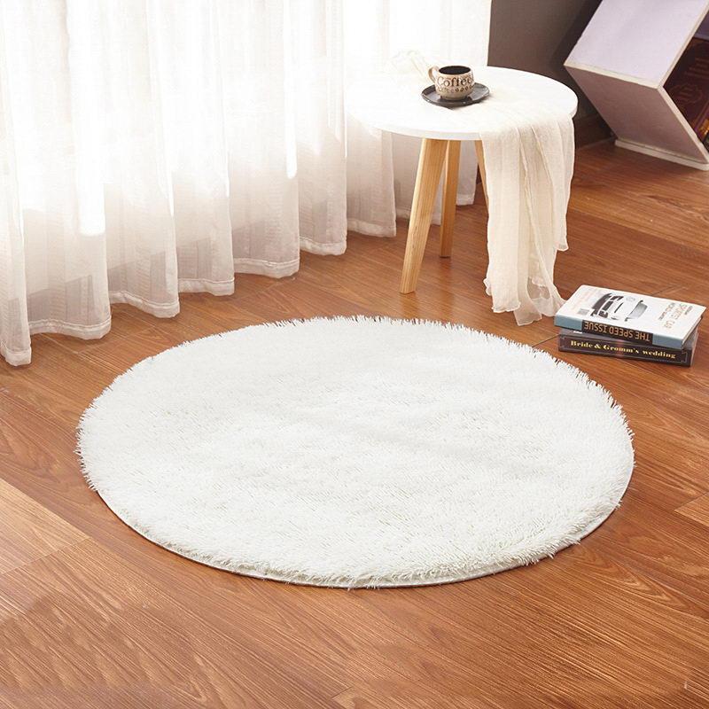 White Color Round Rug Carpet Living Room Carpet Kids Room Rugs Soft And  Fluffy Warm, Custom Size, Diameter 60,80,100,160cm Blanket Down Blankets  Merino Wool ...
