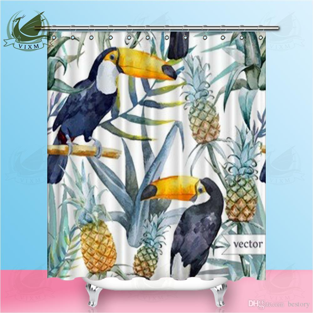 2018 Vixm Home Bird Tropical Palm Tree Fabric Shower Curtain ...