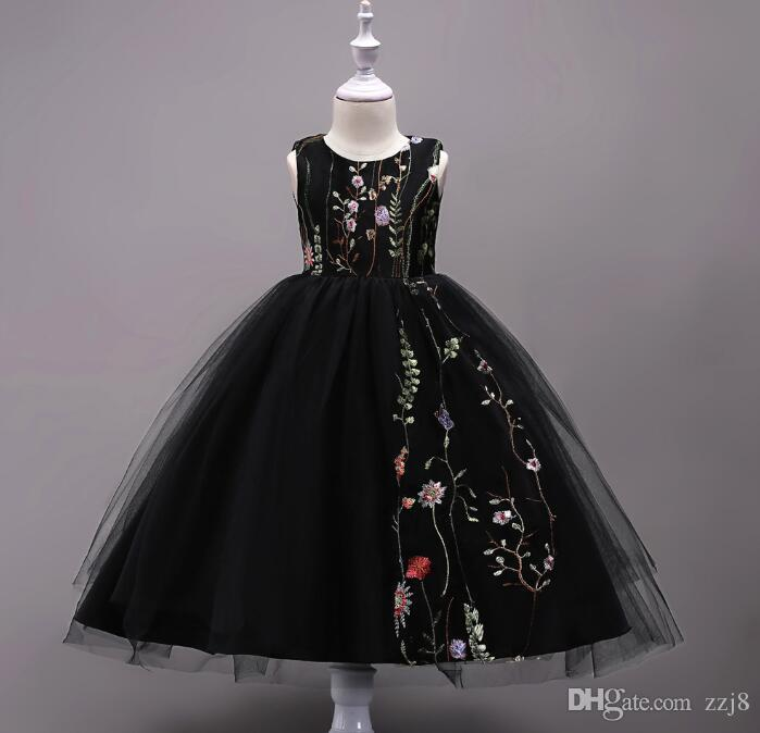 Embroidery Kids Wedding Dresses 4-15 Years Old Flower Girls Formal Ball Gown Prom Dress Black Blue Pink Five Colors