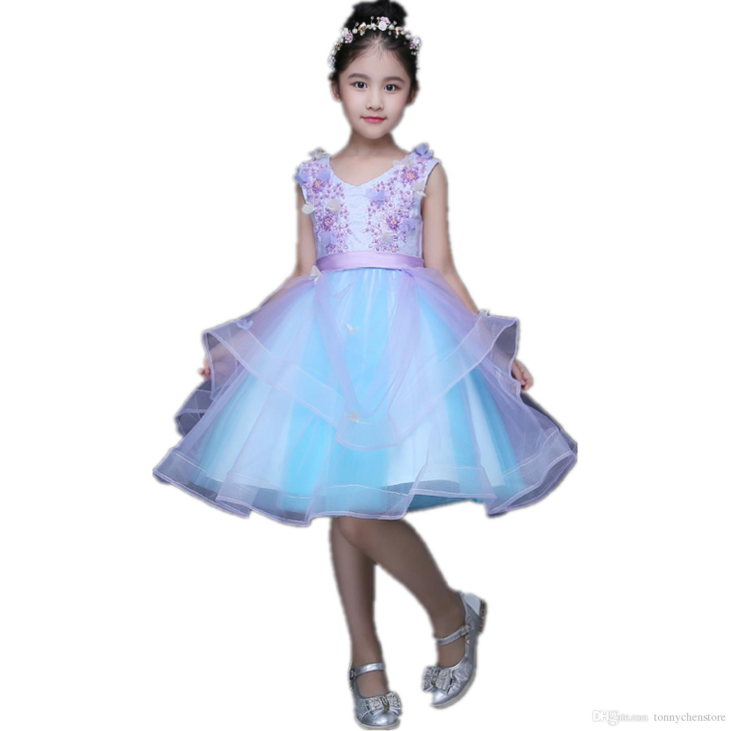 2018 Fashion Blue Girl Dress Sleeveless Queen Dress Tulle Sequin ...