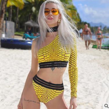 dc783db958 2018 hot summer womens bikini Sexy Serpentine Beach Shoulder Swimsuit Set  Split swimwear two pieces Yellow fashion bikini