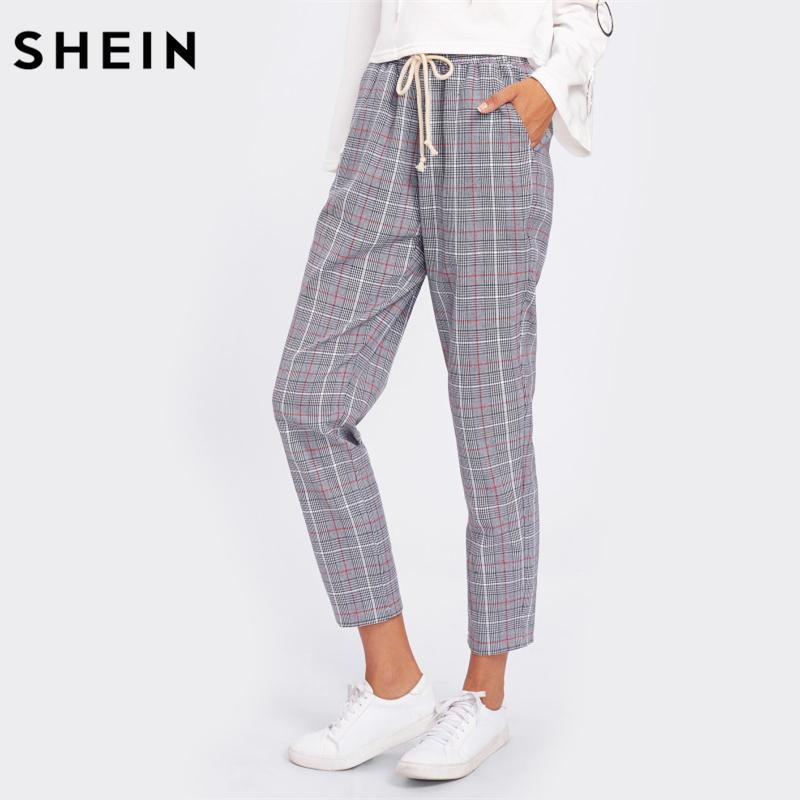91b06039713 2019 SHEIN Drawstring Detail Plaid Peg Pants Grey High Waist Trousers  Elastic Waist Loose Cropped Womens Casual Pants From Baiqian, $26.2 |  DHgate.Com