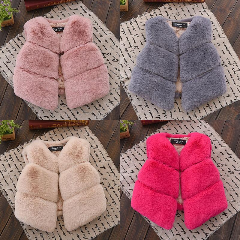 Girls' Baby Clothing Vests Baby Girls Clothes Faux Fur Vest Coats Winter Warm Waistcoat Sleeveless Fur Jacket Baby Girls Outwear Clothes 0-18m