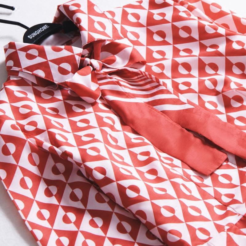 Ecombird 2017 Spring Runway diseñador de las mujeres vestidos de manga larga ocasional del arco del lunar rojo impreso vestido plisado gasa Vestido