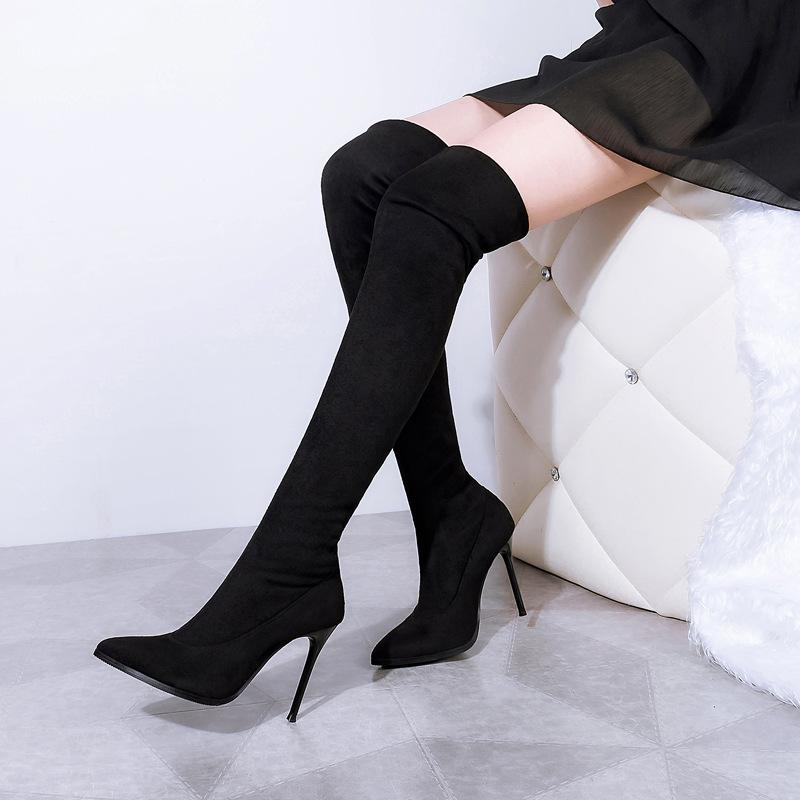 2be97a89be Compre Mulheres De Inverno Moda Botas De Salto Stiletto Sexy Dedo Apontado  Elástico Slip On Projeto Da Marca Sobre O Joelho Martin Botas Cor Sólida De  ...