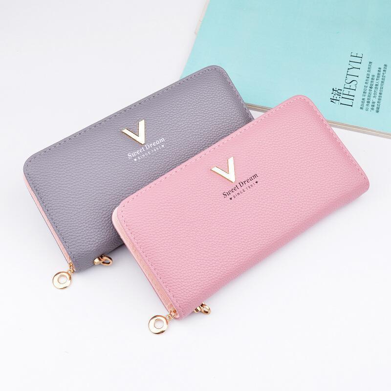 Brand Designer Leather Wallets Women Purses Zipper Long Coin Purses Money Bags Card Holders Clutch Wristlet Phone Wallets Female