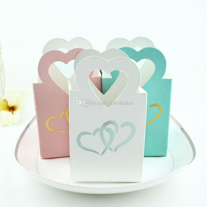 3 Colors Sweet Love Heart Candy Box with Handle Wedding Favor Boxes Packaging Box Party Gift Wrap