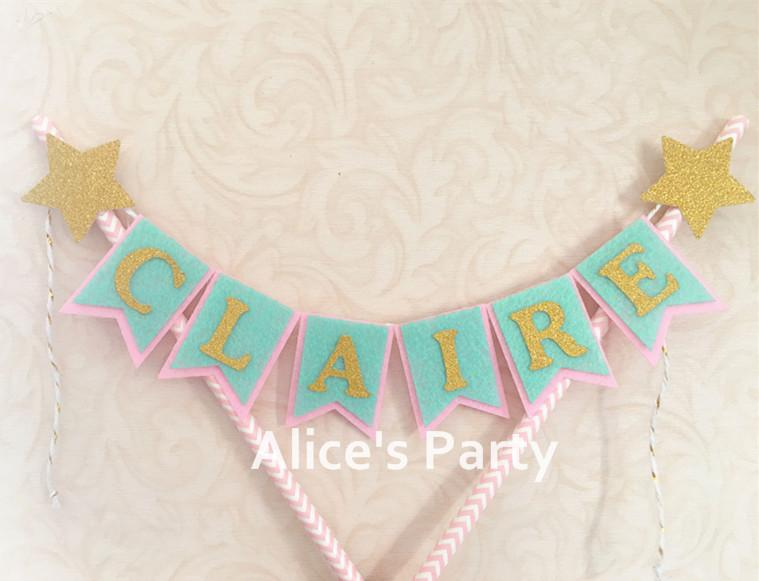 2019 Custom Name Cake Bunting Baby Shower Mint Pink Gold Banner Newborn 1st Birthday Smash Photo Shoot Prop From Liuyanggarden