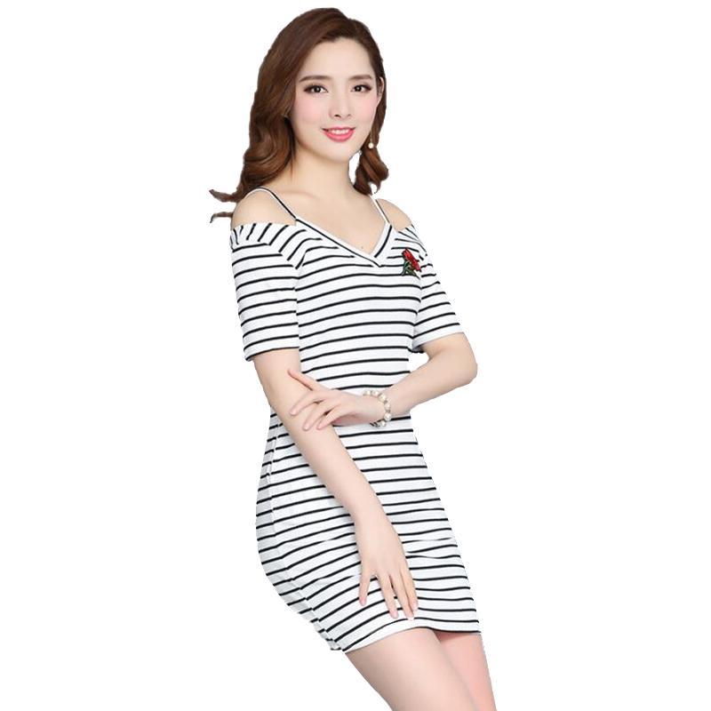 4656cb7b78 Stripe Print Dress Summer Europe Russia Trend Women Lady Black White V Neck  Sling Short Sleeve Rose Embroidery Slim Elastic Knit Dress White Summer  Dresses ...