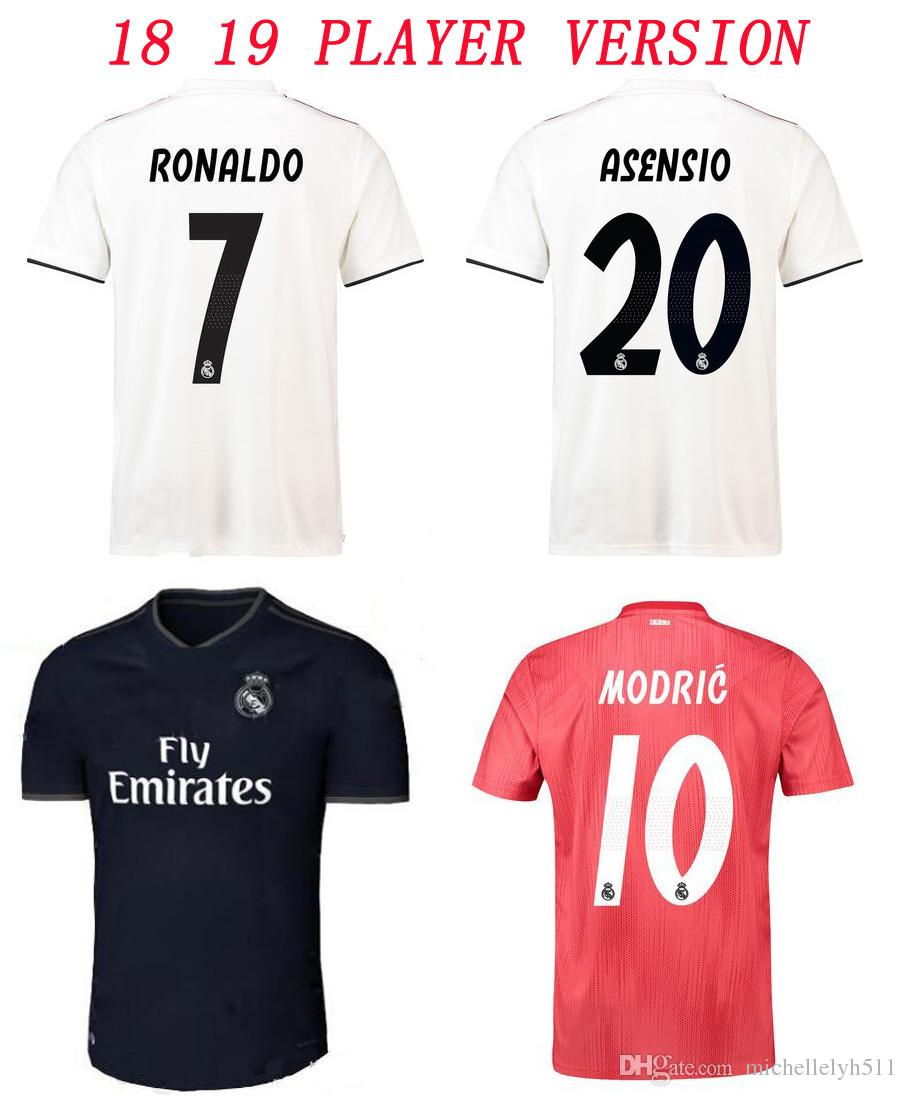 aecdb71be 2019 2018 19 Real Madrid Player Version Soccer Jersey 18 19 RONALDO Bale  Modric Marcelo Kroos ISCO Football Shirt Adult Player Edition Sport Wear  From ...