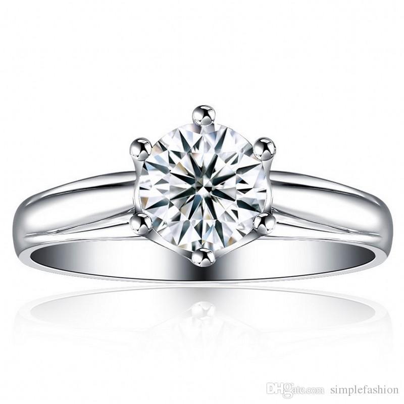 Vecalon De Luxe bague de mariage pour les femmes 1ct Diamant 925 Sterling Argent Femelle Bague De Fiançailles Bague Bague Fine Jewelry