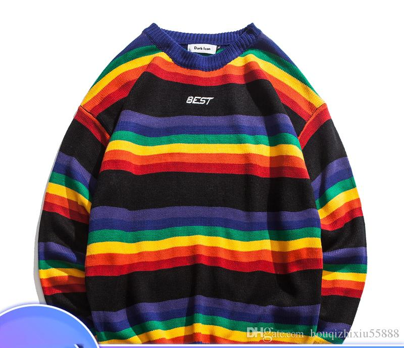 990ab72ac0f98 Rainbow Stripe O-neck Pullover Men s Sweater 2018 Winter Letter ...