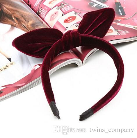 Hot Sale Winter Girls Bohemian Multiple Color Velvet Knotted Bow Headband Hairband Fashion Vintage Hair Accessories