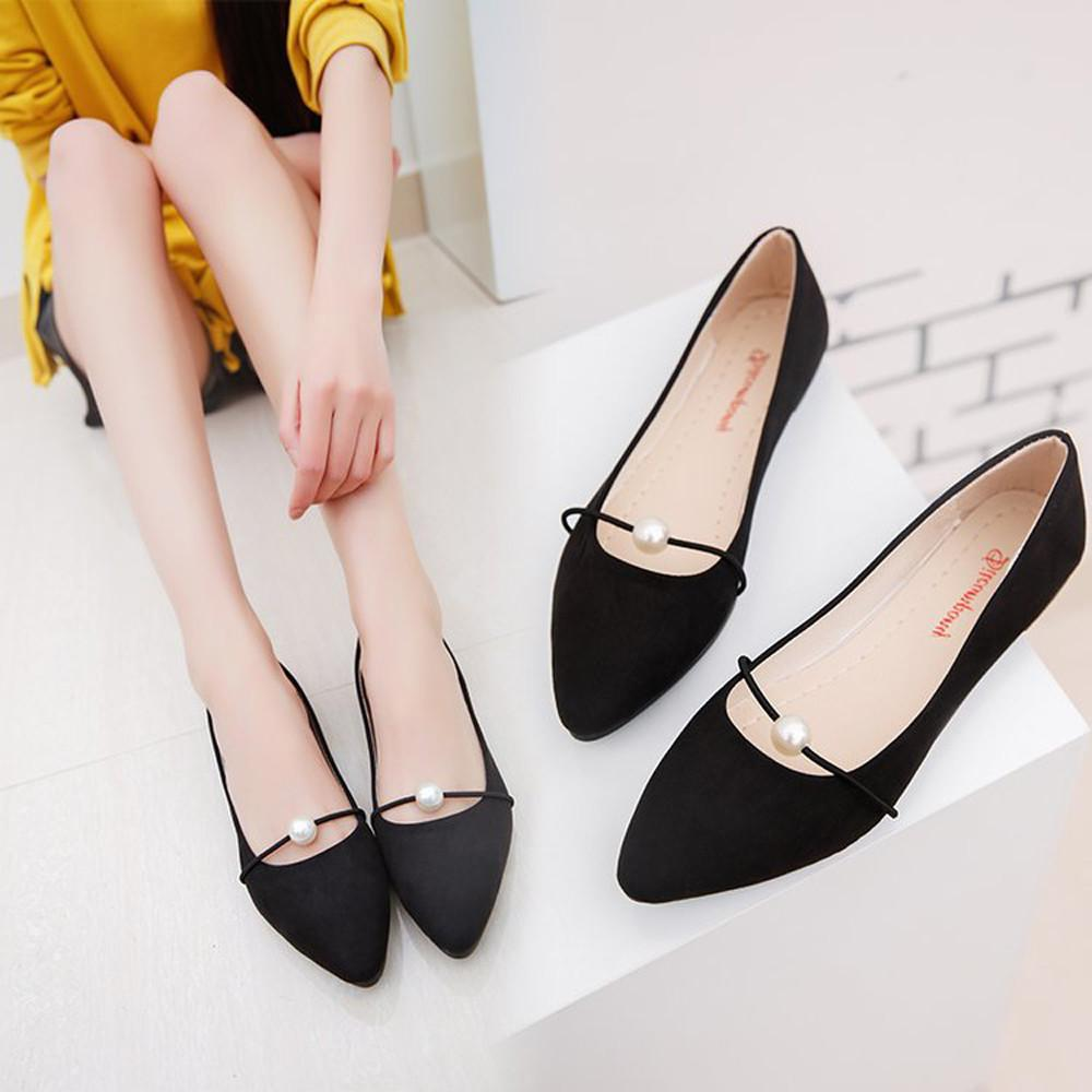 d0c1b90af47 2019 Casual New Women Solid Color Suede Flats Heel Pearl Fashion ...