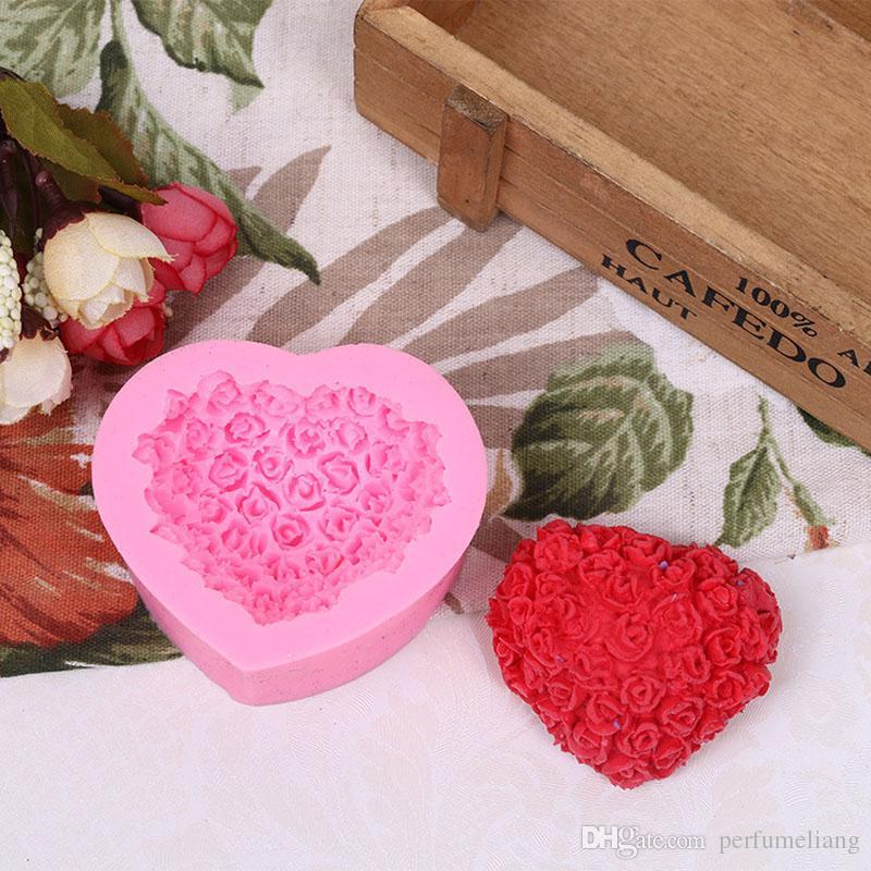 3D Silicone Mold Romantic Heart Shape Flower Soap Mold Cake Tools Sugar Craft Cake Decoration ZA6890